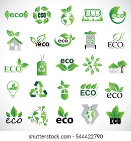 Eco icons set, vector illustration. Collection of green leaves. Different shapes in modern flat and cartoon style. Ecology design elements isolated on gray background