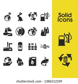 Eco icons set with water pollution, charging and air purification elements. Set of eco icons and burning tree concept. Editable vector elements for logo app UI design.