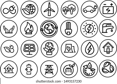 eco icons vector design black and white set