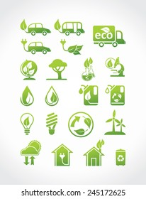 Eco icons, vector set. Alternative energy sources.