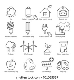 Eco icons vector set. Thin line ecological signs for infographic, website or app. Powersave lamp, nuclear plant, wind energy, elecrtic car, low energy house and over ecology symbol.