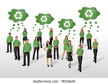 Eco illustration of a group of people in green clothes and recycling icon