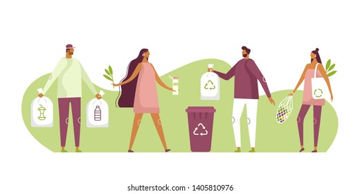 Eco illustration for web. People sorting waste and use eco bag and reusable cup. Eco-friendly characters. Save the planet. Vector template, flat design, white isolated.