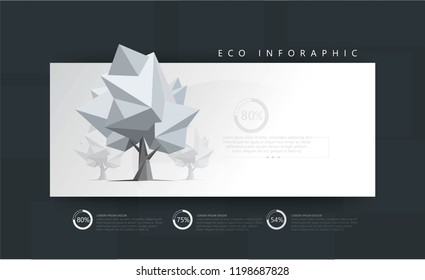 Eco infographics with low poly trees. Diagrams, percentages, progress bar. 3D tree. Web infographics, banner, presentation. Forest, ecology. Modern vector illustration, abstract background.