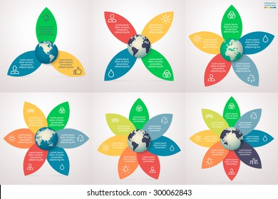 Eco infographics step by step with petals. Abstract element of chart, graph, diagram with 3, 4, 5, 6, 7, 8 steps, options, parts, processes. Vector business template for presentation and training.