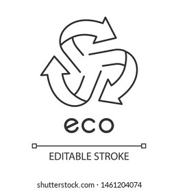 Eco label linear icon. Three rounded arrow coming out of center sign. Recycle symbol. Environmental protection sticker. Thin line illustration. Contour symbol. Vector isolated drawing. Editable stroke