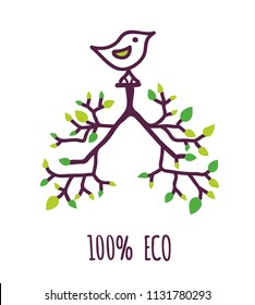 Eco label with tree, leaves and bird, sign for natural or bio product.  Vector graphic illustration
