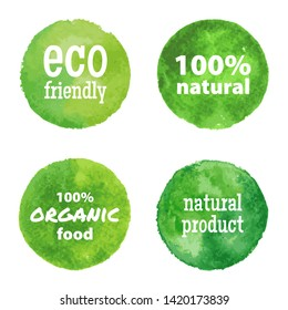 Eco labels and shapes on white background. Vector natural, organic food, bio hand drawn watercolor stains.
