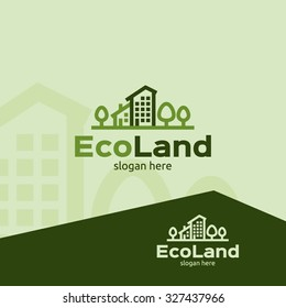 Eco land logo template for companies, green building