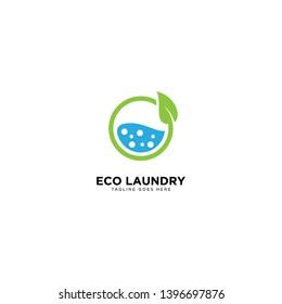 Eco Laundry Logo Design Vector