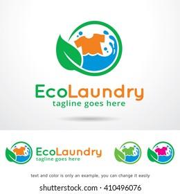 Eco Laundry Logo Template Design Vector