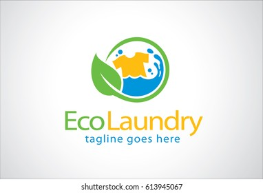 Eco Laundry Logo Template Design