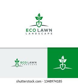 Eco lawn logo template, Landscape icon design vector illustration