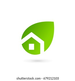Eco leaves house logo icon design template elements