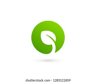 Eco leaves logo icon design template elements with letter O