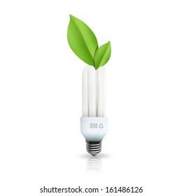 Eco lightbulb isolated on white. Vector design.
