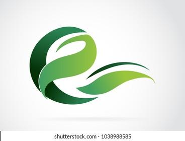Eco logo design. Leaf Organic farming logo design idea.E- green leaf logo template.-vector illustration