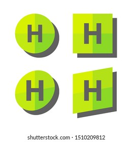 Eco logo emblem illustrating a healthy lifestyle and food. Green round icons with H, Healthy isolated on white background.