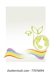 Eco Logo / Environmental Theme (Earth, rainbow and a little plant)