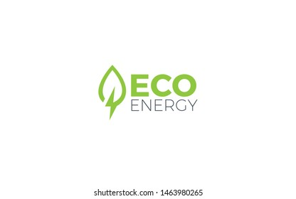 Eco logo forms leaves with a lightning symbol in green color