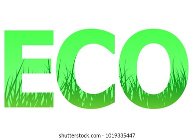 eco logo with grass vector illustration