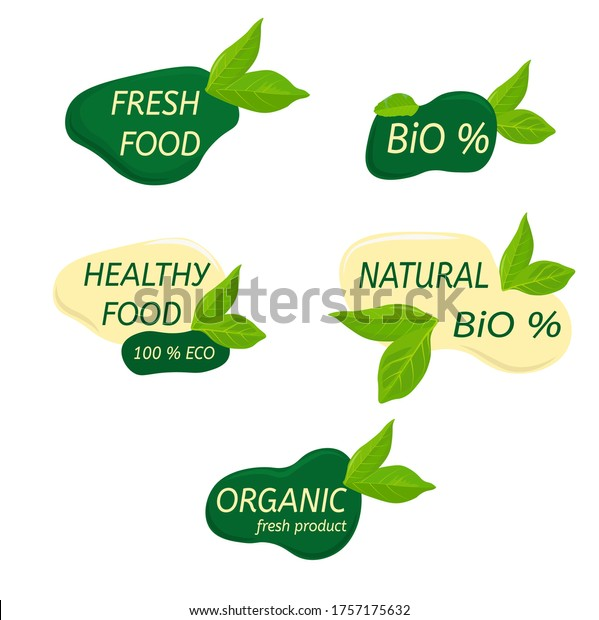 eco logo organic healthy food labels stock vector royalty free 1757175632 shutterstock