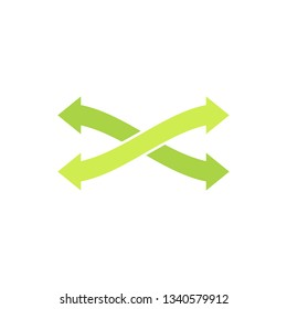 Eco logo, symbol with two green arrows crosswise. Recycling eco icon. Isolated vector illustration on white background.