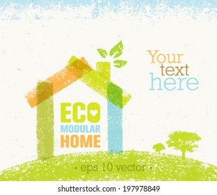 Eco Modular Home Nature Friendly Vector Concept on Recycled Paper Background