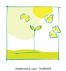 Eco motive - green little plant and butterflies (simple calligraphic drawing, vector)