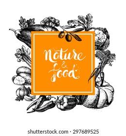 Eco natural food menu background. Sketch hand drawn vegetables frame. Vector illustration