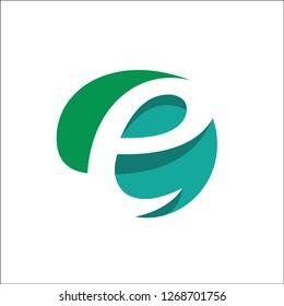 Eco Natural Letter Initial E Logo Design Template - Vector