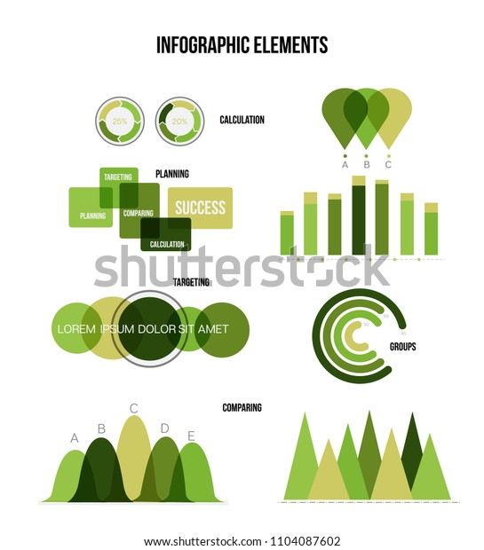 Eco Nature Green Infographic Vector Statistic Graphic Chart Set. Diagram, Pie Chart, Statistic Bar, Arrow, Business Plan Info Design. Chart Graphic, Business Statistics Infographic Template.