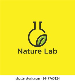 Eco Nature leaf and flask Labs vector logo template for environment and laboratory industrial