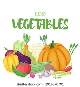 eco nature tasty vegetables template concept.hand drawn flat  vector illustration. For  ad,banner,web,print