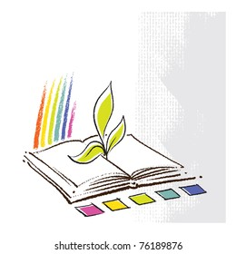Eco - open book with a plant seedling and a rainbow, vector
