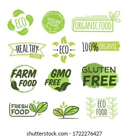 Eco and organic logo flat icon collection. Fresh, natural, gluten free food stamps vector illustration set. Vegan bio GMO free food. Nature and healthy products concept
