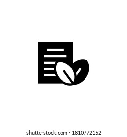 eco paper Icon in black flat glyph, filled style isolated on white background