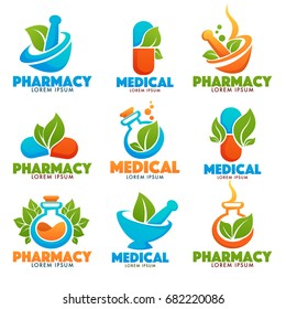 Eco Pharmacy, Glossy Shine Logo Template with Images of bottles, pounder, pills and green Leaves