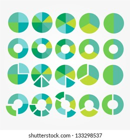 Eco pie diagram set. Circle cart infographic design. Element of process for your design. Vector icons.