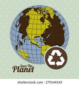 Eco Planet design over pointed background, vector illustration