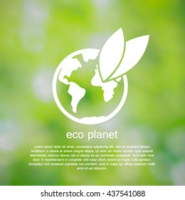 Eco planet. White Vector Illustration on green background