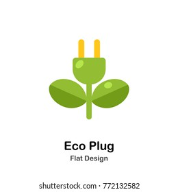 eco plug flat illustration icon
