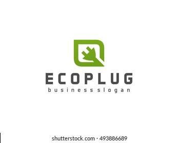 Eco Plug Logo. Green leaf symbol