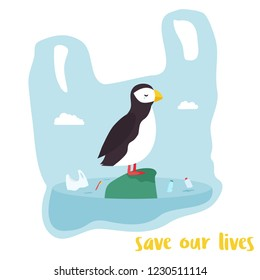 Eco poster. Cute puffin inside the plastic bag. Environment protection. No more plastic