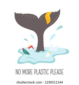 Eco poster. Whale tale and the splash of water with garbage. Environment protection. No more plastic