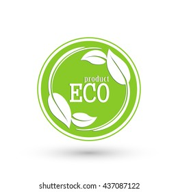 Eco product label vector round icon on isolated background