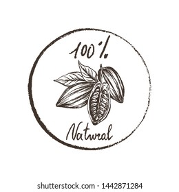 Eco products. Imprint design elements Hand drawn sketch cacao beans Chalk style vector