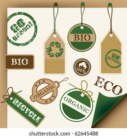 Eco, recycle and bio tags and stamps, vector