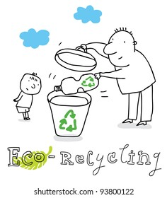 Eco recycling; ecology and environment protection, vector drawing ; isolated on background.