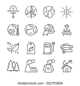 Eco related line icons. Included the icons as ecology, clean energy, industrial, green power, recycle, electric car and more.